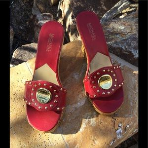 Michael Kors Red Rattan Wedge Sandals